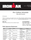 Ironman Pro Athletic Schedule